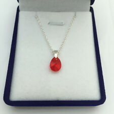 RED Siam Swarovski Elements Crystal NECKLACE Mini PEAR 10 mm Sterling Silver Box