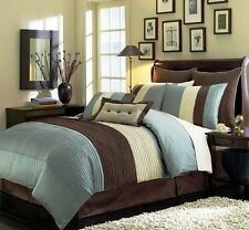 NEW Twin Full Queen Cal King Bed 8 pc Brown Blue Stripe Comforter Set Faux Silk