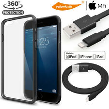 Hybrid Shockproof Matte Bumper Case Lightning Cable Glass Screen iPhone 6/6s+