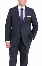 Mens Modern Fit Blue With Black Plaid Two Button Super 140's Wool Suit
