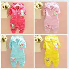 children Warm outerwear baby girls cotton Hooded coats Winter Jacket+Pants