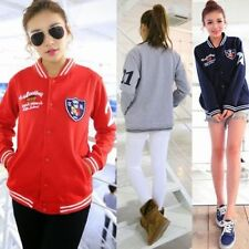 Cartoon Badge English Letters Striped Collar Womens Outwear Sweats Snap Buttons
