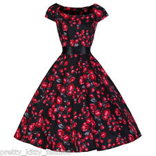 PRETTY KITTY 40s 50s BLACK RED ROSE VINTAGE TEA ROCKABILLY SWING PROM DRESS 6-18