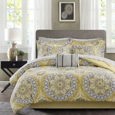NEW Twin Full Queen Cal King 9pc Yellow Gray Grey Medallion Damask Comforter Set