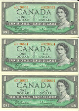 Bank of Canada 1954 $1 One Dollar Lot of 3 Consecutive Notes Choice UNC Y/N