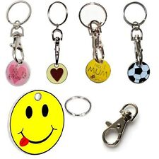 SHOPPING TROLLEY TOKEN TROLLIES £1 COIN KEYRING LOCKER POUND WITH KEY CHAIN