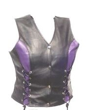 Women SOFT Leather Biker Motorcycle Vest with VIOLET PURPLE Accents Front Laced