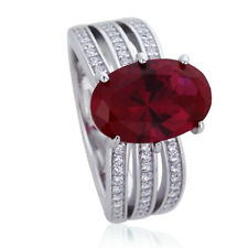 Women 12mm Platinum Plated Silver Simulated Ruby Oval CZ Engagement Ring set