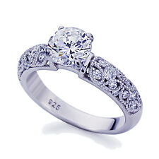 Women 4mm Platinum Plated Sterling Silver 1.5ct CZ Vintage Engagement Ring set