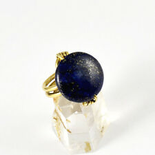 Natural Tumbled Lapis Lazuli Gemstone Brass Wire Wrapped Button Ring Any Size