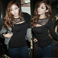 Sexy Women's Fitted Long Sleeve Round Neck Black Tulle T-shirt Tops Tee Stretch