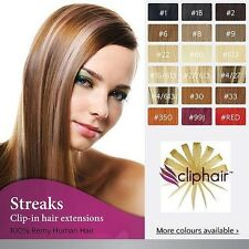 Clip in Remy Human Hair Extensions , Streaks / Highlight