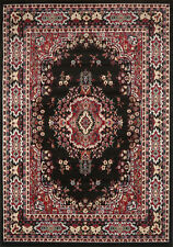 "PERSIAN BLACK AREA RUG 8 X 11 ORIENTAL CARPET 69 - ACTUAL 7' 8"" x 10' 8"""