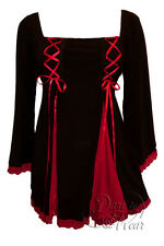 Gothic GEMINI PRINCESS Stretch Corset Style Top BLACK / RED Sizes 18/20 to 26/28