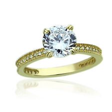 Women 7.5mm 14K Yellow Gold 1.5 Carat Round CZ Solitaire Wedding Engagement Ring