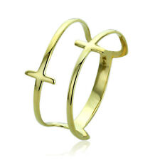 Women 11mm 14K Yellow Gold Double Sideway Cross Knuckle Ring Band / Gift Box