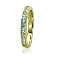 Women's Fine band 14K Gold Princess CZ Channel Setting Wedding Anniversary Ring