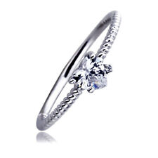 Women's Fine band 14K White Gold 0.5ct Heart CZ Accent Braid Rope Promise Ring