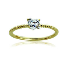 Women's Fine band 14K Gold 0.5ct Heart CZ Accent Braid Rope Wedding Promise Ring