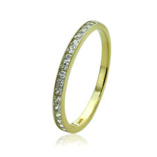 Women's Fine band 14K Gold CZ Channel Setting Half Eternity Band Wedding Ring