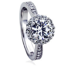 Women's Fine band 14K White Gold 1ct CZ Halo Solitaire Wedding Engagement Ring