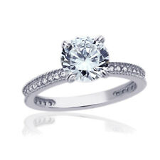 Women Fine band 7.5mm 14K White Gold 1.5ct CZ Solitaire Wedding Engagement Ring