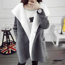 Womens Winter Hooded Thicken Jacket Warm Cardigan Knitwear Sweater Girl's Coats