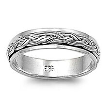 Men 5mm 925 Sterling Silver Band Oxidize Finish Braided Rope Spinner Ring
