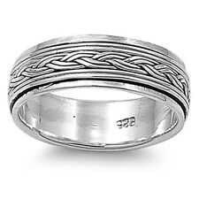 Men 7mm 925 Sterling Silver Band Oxidize Finish Braided Rope Spinner Ring