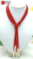 """SALE Long 45"""" Natural 3 Strands Red round Coral & White Pearl Necklace-nec5643"""