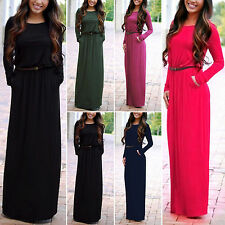 Boho Womens Long Sleeve Casual Cocktail Party Summer Beach Pocket Maxi Dress