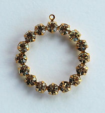 VINTAGE SWAROVSKI RHINESTONE CIRCLE HOOP PENDANT 32mm • MANY COLORS AVAILABLE