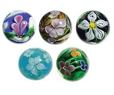 22mm Handmade Art Glass Flower Marbles, Pack of 5 w/Stands - Set C Iris, Lotus &