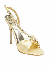 WOMENS GOLD DIAMANTE WEDDING PARTY BRIDAL PROM SANDALS SHOES LADIES UK SIZE 3-8