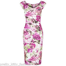 PRETTY KITTY 40s PINK FLORAL BODYCON WIGGLE PENCIL VINTAGE COCKTAIL DRESS 8-18