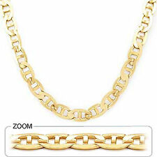 """10.00mm 22"""" 71.00gm 14k Yellow Solid Gold Men's Mariner Concave Necklace Chain"""