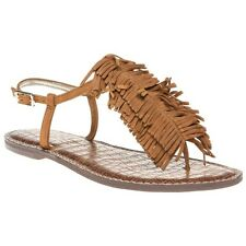 New Womens Sam Edelman Tan Gela Suede Sandals Flats Buckle Straps