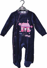 Baby Girls Velour Sleepsuit - My Sweet Little Home  (0-6 Months)