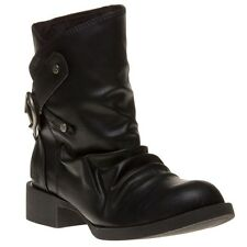 New Womens Blowfish Black Kika Synthetic Boots Ankle Buckle Pull On