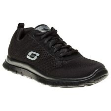 New Womens Skechers Black Flex Appeal Obvious Choice Nylon Trainers Running Lace
