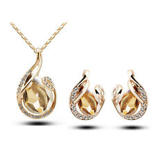 Teardrop Crystal Pendant Earring Necklace Jewelry Set White Gold Plated Fashion