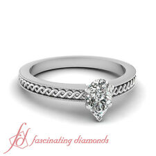 Solitaire Milgrain Border Engagement Ring 1/2 Carat Pear Shaped VS2 Diamond GIA