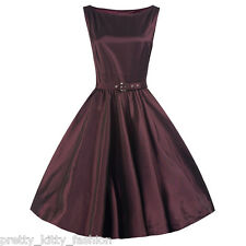 PRETTY KITTY ROCKABILLY PURPLE SATIN VINTAGE SWING PROM EVENING 1950s DRESS 8-22
