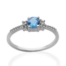 Genuine Blue Topaz, White Topaz Pure 925 Solid Sterling Silver Ring Size 7.5 US