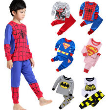 Toddler Baby Boys Batman Spiderman Sleepwear T-Shirt Pants Pajamas Pjs 2Pcs Sets