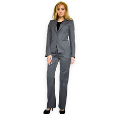 2 Piece Trousers Blazer Business Casual Grey wool office Suit UK 8 10 12 14 16