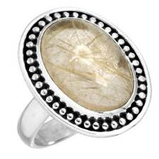 Golden Rutilated quartz 925 Sterling Silver Best Seller Ring Size 7 cg13993