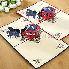 3D Pop Up Greeting Card Carriage Birthday Wedding Party Valentine Christmas Gift