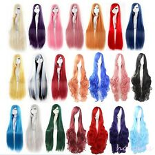 60-100 Full Wigs Long Anime Hair Straight Wig Cosplay Party Costume Halloween #M