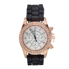 Colorful Women's Geneva Crystal Jelly Gel Silicone Quartz Wrist Watch